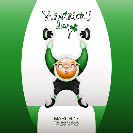 Postcard, flyer, invitation to a holiday or a party. Greeting inscription, flag and character with a red beard. Funny cartoon bald leprechaun raised up his hands with hats. Vector illustration.