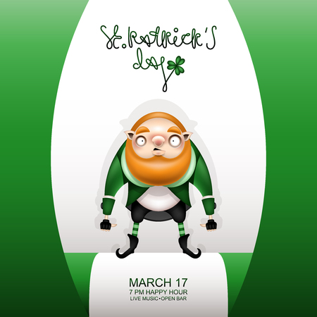 Postcard, flyer, invitation to a holiday or a party. Greeting inscription, green flag and a character with a red beard in a suit. Funny cartoon big red-haired leprechaun. Vector illustration.