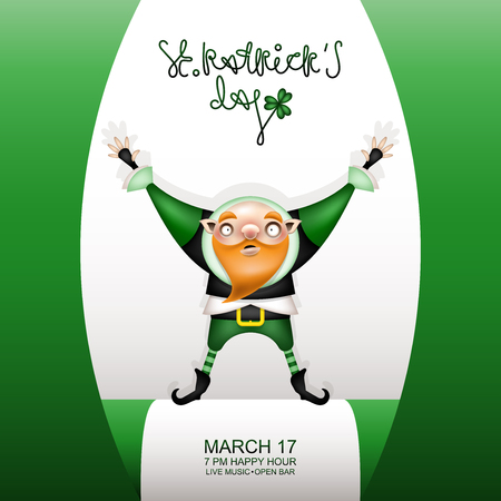 Postcard, flyer, invitation to a holiday or a party. Congratulatory lettering, flag and character with a red beard in a festive costume. Funny cartoon bald leprechaun posing. Vector illustration.