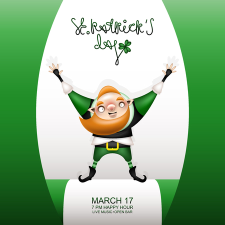 Postcard, flyer, invitation to a holiday or a party. Congratulatory lettering, flag and character with a red beard in a festive costume. Funny cartoon festive red-haired leprechaun raised his hands up. Vector illustration. 일러스트