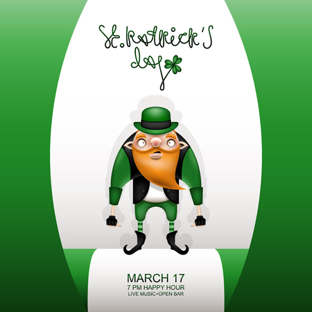 Happy St. Patrick's Day! Postcard, flyer, invitation to a holiday or a party. Greeting inscription, green flag and character with a red beard. Funny cartoon leprechaun posing in a green hat. Vector illustration. Illustration