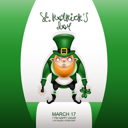 Happy St. Patricks Day! Postcard, flyer, invitation to a holiday or a party. Greeting inscription, Irish flag and a character with a red beard. Funny cartoon  leprechaun posing in a festive costume and green hat. Vector illustration. Ilustração