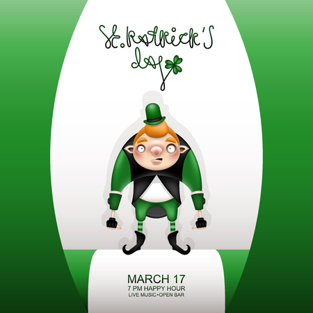 Postcard, flyer, invitation to a holiday or a party. Congratulatory inscription, green flag and red-haired character in a small green hat. Funny cartoon young leprechaun. Vector illustration.