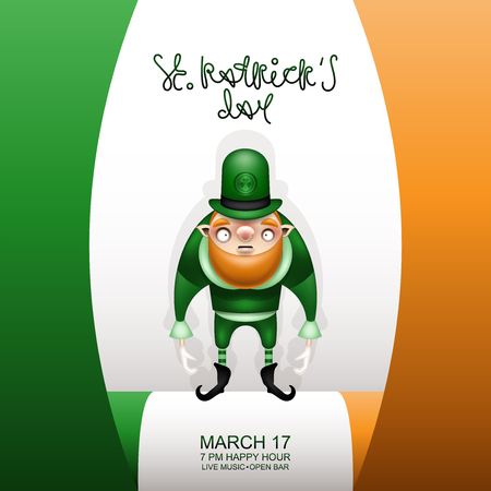 Postcard, flyer, invitation to a holiday or a party. Greeting inscription, Irish flag and character with a red beard. Funny cartoon red-haired gnome in a green hat with a symbol of a trefoil. Vector illustration. 일러스트
