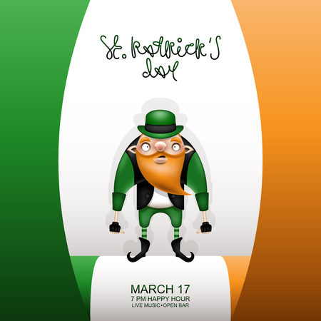 Happy St. Patrick's Day! Postcard, flyer, invitation to a holiday or a party. Greeting inscription, Irish flag and character with a red beard. Funny cartoon leprechaun posing in a green hat. Vector illustration.