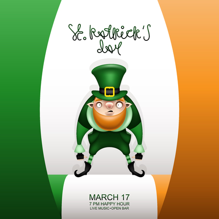 Postcard, flyer, invitation to a holiday or a party. Greeting inscription, Irish flag and character in costume with izelÑ'noy hat. Funny cartoon leprechaun. Vector illustration. Ilustração