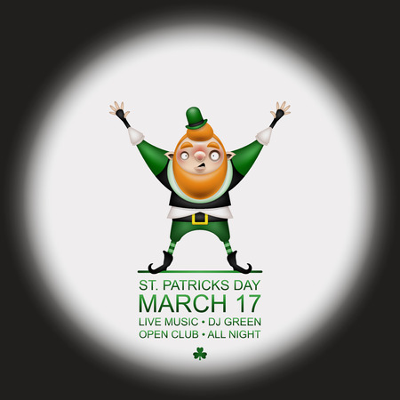 Happy Patricks Day! Greeting card, flyer, invitation to a holiday or a party in retro style. A funny bald leprechaun with a long red beard poses in a festive costume. Vector illustration.