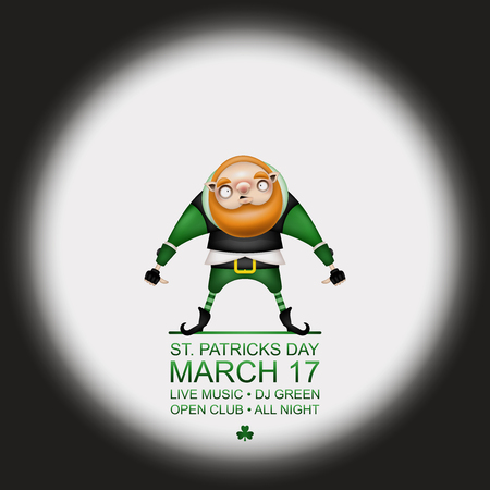 Happy Patricks Day! Greeting card, flyer, invitation to a holiday or a party in retro style. A funny leprechaun with a red beard and hair poses in a festive costume. Vector illustration.