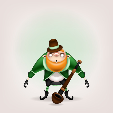 Happy St. Patrick's Day! Postcard, flyer, invitation. A character with a red beard with a tobacco pipe posing on a light background. Cartoon funny leprechaun lets out green smoke. Vector illustration. 일러스트