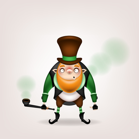 Happy St. Patricks Day! Postcard, flyer, invitation. Character with a red beard in a hat and a tobacco pipe posing on a light background. Cartoon funny leprechaun stands and lets out green smoke. Vec