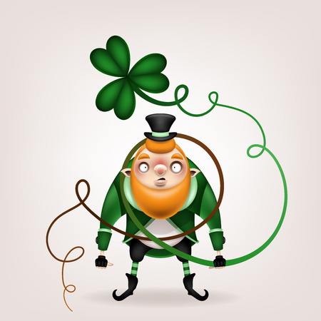 Happy St. Patrick's Day! Postcard, flyer, invitation. Character with a red beard in a suit on a light background. Cartoon funny leprechaun tangled in the stem of a trefoil. Vector illustration. 일러스트