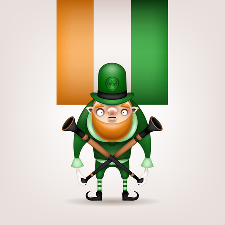 Happy St. Patrick's Day! Postcard, flyer, invitation. Character with a red beard in a green hat posing on a light background. Cartoon funny leprechaun with musical trumpets in his hands. Vector illustration. 일러스트