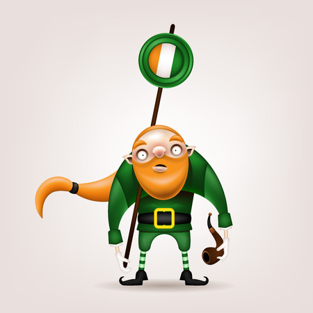 Happy St. Patrick's Day! Postcard, flyer, invitation. A character with a red beard and a pipe poses on a light background. Cartoon funny gnome is holding a stick with the Irish flag. Vector illustration. 矢量图像
