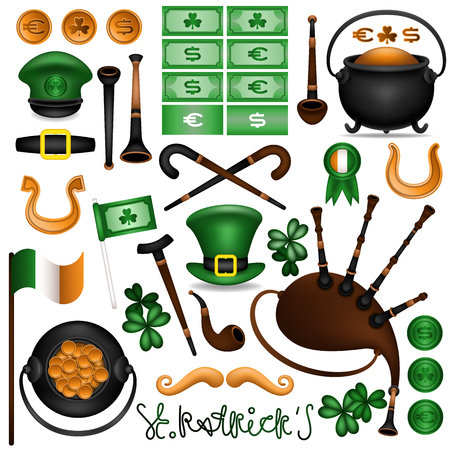 The collection of attributes of the feast of St. Patrick. Things gnome, leprechaun. Bagpipes, smoking pipe, trefoil, coins, bills, pot, flag, medal, horseshoe, walking stick, green hat, mustache. Vector illustration.