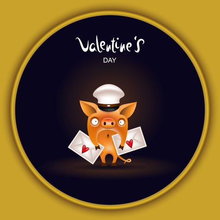 The symbol of the year for Valentines Day is a funny little orange pig with love letters posing on a dark background. Vector illustration.