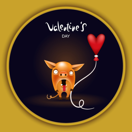 Invitation, holiday greeting card. A funny little surprised orange piglet with a heart-shaped balloon is posing on a dark background. Character from the collection of pigs. Vector illustration.