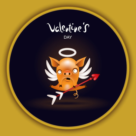 Invitation, holiday greeting card. Funny little orange pig in the image of a cupid with an arrow posing against a dark background. Character from the collection of pigs. Vector illustration.