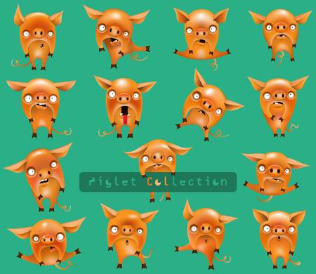 Collection of funny orange piglets on a turquoise background. Vector illustration.