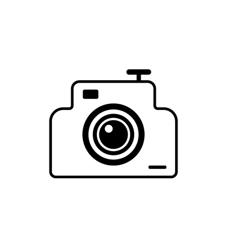 Flat camera icon for applications, public places and web sites. Vector illustration