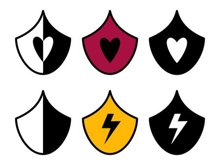 Flat linear design. Flat icon of protecting computer, home and property for applications and web sites. Vector illustration. Shields with a heart sign and a thunderstorm lightning.