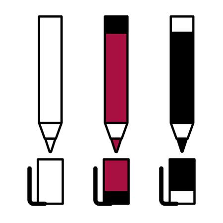 Design lineare piatto. Icone piatte di penne a sfera di cancelleria per applicazioni e siti web. Illustrazione vettoriale