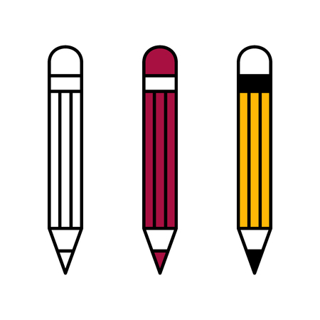 Flat linear design. Flat icons of stationery art pencils for applications and web sites. Vector illustration. Set 向量圖像