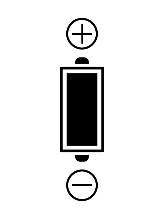 Flat battery icon for applications and web sites. Vector illustration. Positive and negative battery terminal. Imagens - 124959815