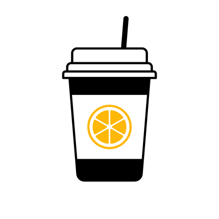 Flat linear design. A sign of a drink in a cup for public places. Paper cup with fresh orange juice. Vector illustration.