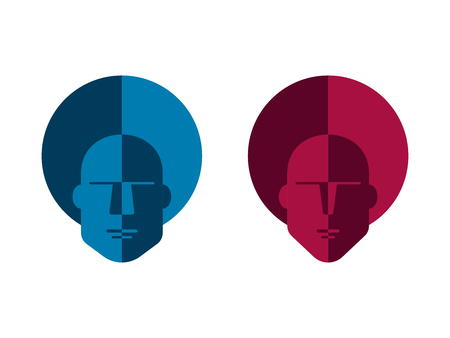 Flat linear design. Company logo, sign or signboard for public places, icon for apps and web sites. The head of a man. Man and woman.