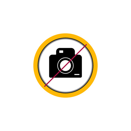 Flat linear design. Prohibiting icon photo and video shooting for public places. Camera in the circle. Vector illustration.