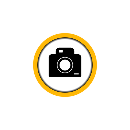 Flat linear design. Permissive photo and video icon for public places. Camera in the circle. Vector illustration. Banco de Imagens - 124961221