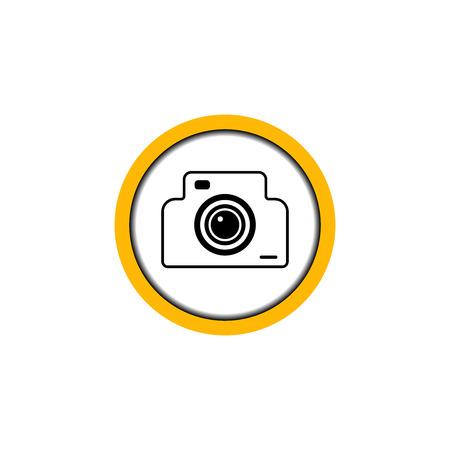 Flat linear design. Permissive photo and video icon for public places. Camera in the circle. Vector illustration. Ilustração