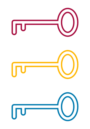 Flat key icon for apps, public places and web sites. Vector illustration. Contour key silhouette. Color set