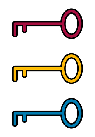 Flat key icon for apps, public places and web sites. Vector illustration. Silhouette key. Color set