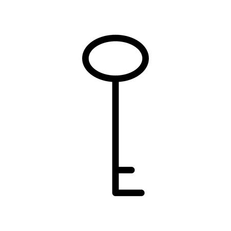 Ikona klucza płaskiego dla aplikacji, miejsc publicznych i stron internetowych. Ilustracja wektorowa. Czarna sylwetka klucza