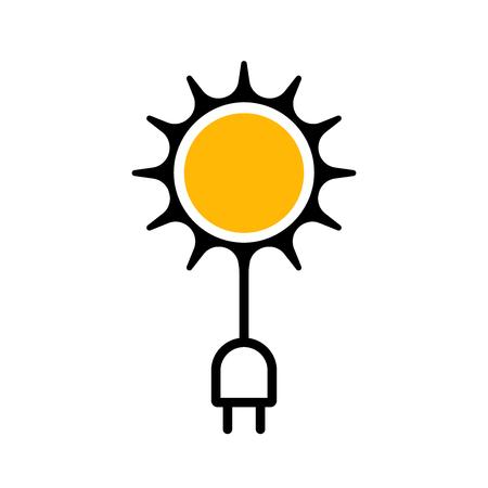 Icône plate indiquant l'utilisation de l'énergie solaire. Illustration vectorielle. Technologies modernes.