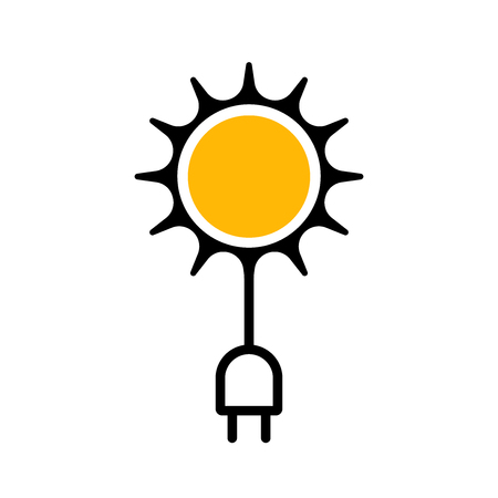 Flat icon denoting the use of solar energy. Vector illustration. Modern technologies. Illustration