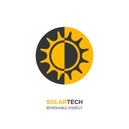 Sun solar energy logo design template. solar tech logo designs. Vector illustration