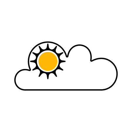 Flat weather symbol for apps and web sites. Vector illustration. Sun and cloud.
