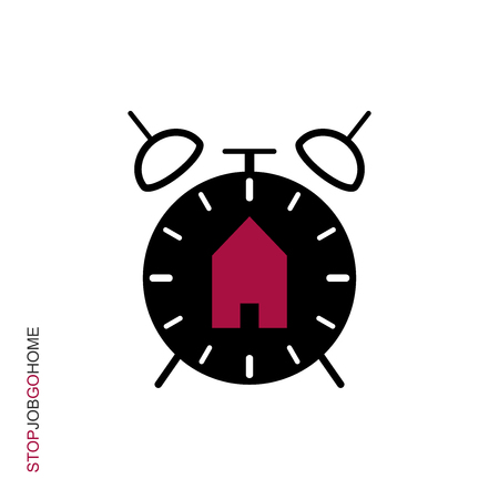 Flat linear design. Clock icon for apps and web sites. Ringing alarm clock and sign home. A reminder of the end of the working day. Time to go home. Vector illustration. Illustration