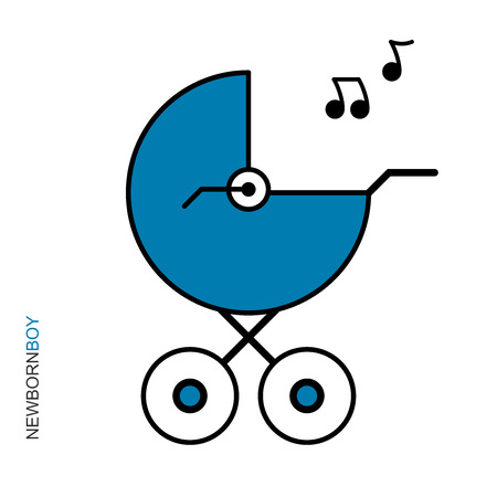 Flat linear design. Logo, plate, creative picture, postcard. Blue stroller for a newborn! Happy Birthday! Happy newborn boy! vector illustration. Stockfoto - 124962116