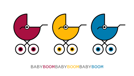 Flat linear design. Logo, plate, creative picture, postcard. Three colored strollers are in a row .Vector illustration. Boom kids! Happy Birthday! Happy Newborn!