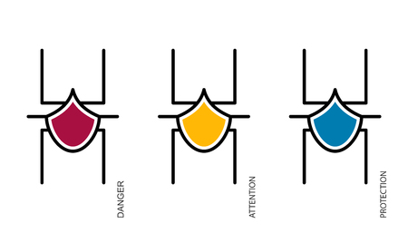 Flat linear design. Status icons of antivirus or security software for applications and web sites. network spider in status. Protected, attentive, dangerous. Vector illustration.