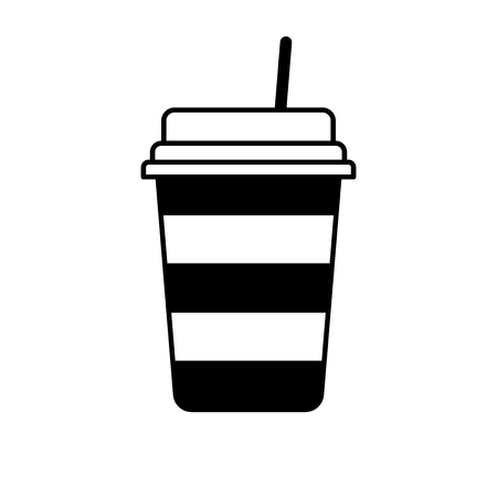 Flat linear design. A sign of a drink in a cup for public places. Paper cup with hot drink. Vector illustration.