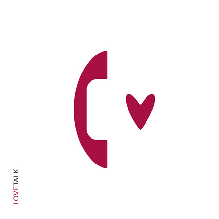 Flat linear design. Romantic phone call icon for apps, public places and web sites. Color handset and heart shape. Vector illustration