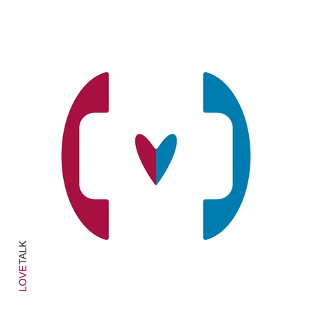 Flat linear design. The icon of a love phone conversation for applications, public places and web sites. Blue and red handset and heart. Vector illustration Illustration