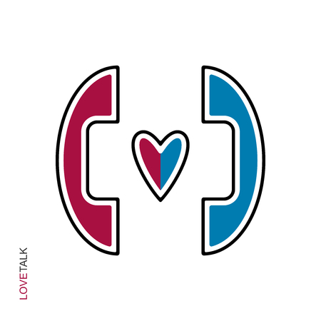 Flat linear design. The icon of a love phone conversation for applications, public places and web sites. Blue and red handset and heart. Vector illustration  イラスト・ベクター素材