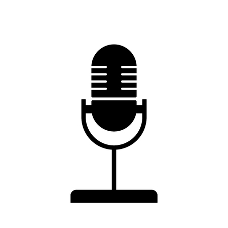 Flat linear design. Microphone icon for apps and web sites. Vector illustration. Black and white Illustration