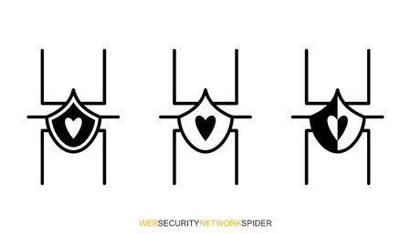 Flat linear design. Network protection icons for computer, electronic and mobile systems and devices for applications and web sites. Network spider in black and white. Vector illustration. Ilustrace