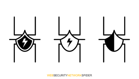 Flat linear design. Network protection icons for computer, electronic and mobile systems and devices for applications and web sites. Network spider in black and white. Vector illustration. Reklamní fotografie - 127513418